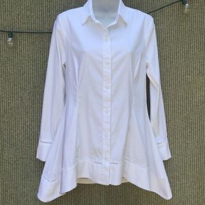 White peplum Flared long high low button up shirt